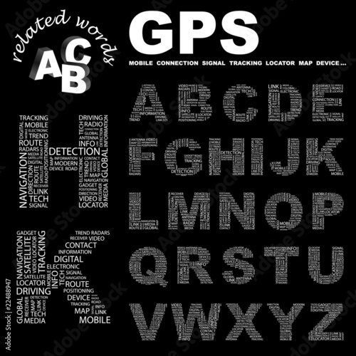 GPS. Alphabet. Illustration with different association terms.