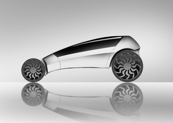 The future car. The illustration is executed by a graphic tablet