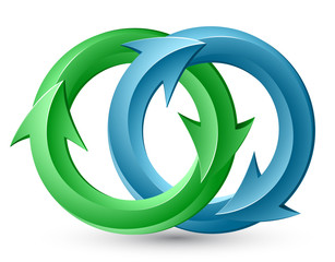 Vector illustration of blue and green circular arrows