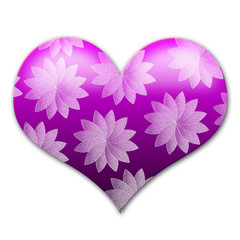 Purple,glossy,3D heart with white floral ornaments