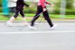 Nordic walking race, motion blur