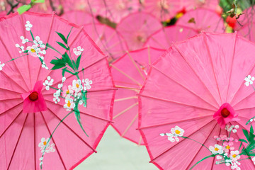 pink paper umbrellas for spring festival