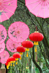 pink umbrellas and chinese lanterns (1)