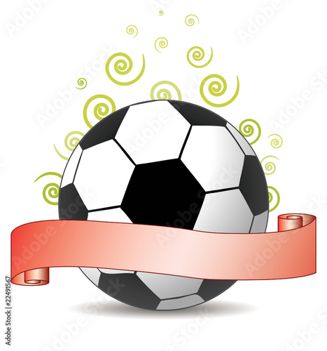 soccer ribbon with green curls in the air