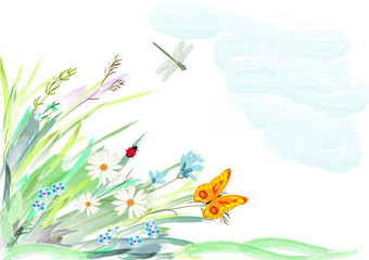 Flowers in a grass and insects, a water color