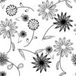 Seamlessly vector wallpaper with art white flower