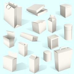 White boxes set isolated on blue background