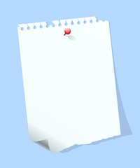 Blank paper note isolated on blue background