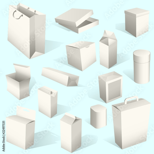 White boxes set isolated on blue background