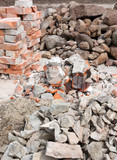 Pile of f rubble , bricks and stones poster