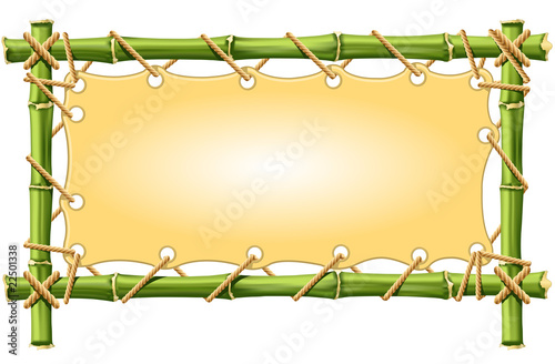 Bamboo frame with Canvas isolated on white
