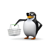 3d Shopper penguin