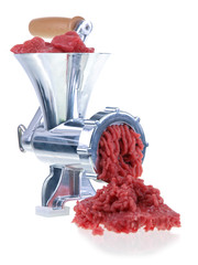 meat grinding on white background