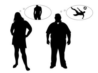 Zwei übergewichtige Menschen