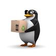 3d Penguin carries box