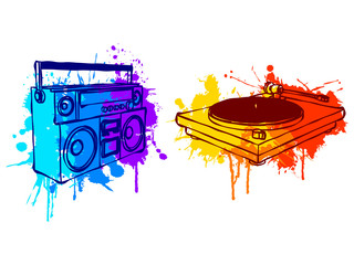 Boombox and turntable, with colorful grunge elements.