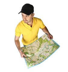 man with map isolated