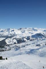 France, Alps, ski slope in Courchevel