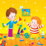 Two boys play with bricks in a nursery-room poster
