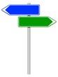 Panneaux directionnels bleu et vert