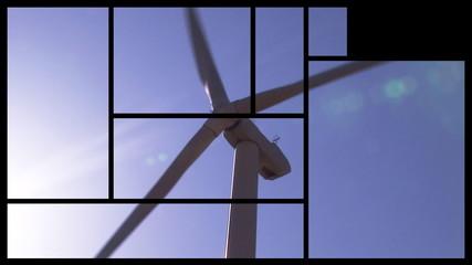 Montage footage presenting wind turbines