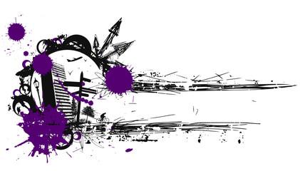 Ville texte violet gris