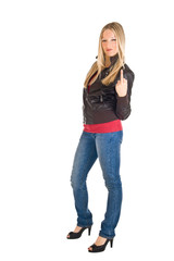 Woman in leather jacket and jeans isolated