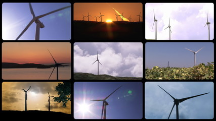 Montage footage of wind turbines