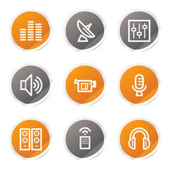 Media web icons, orange and grey stickers