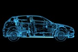 Fototapety Car 3D rendered xray blue transparent