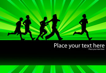 People running vector background with green burst and copy space
