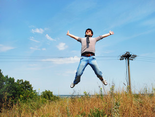 Man jumping on nature