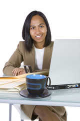 Businesswoman at Her Desk Working