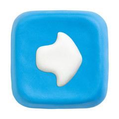 Blue square right key. Clipping paths for button, icon