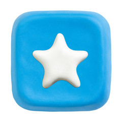 Blue square favourites key. Clipping paths for button, icon