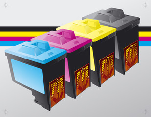 Printing ink cartridges vector background