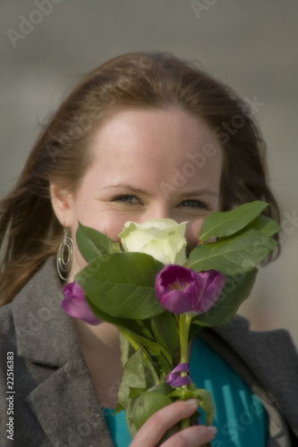 smiling girl with boquet