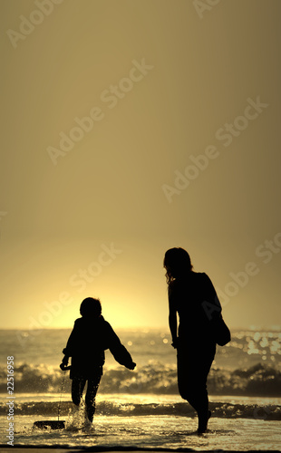 mother and son with bodyboard board