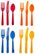 Sets of Vibrant Plastic Silverware - 22518583