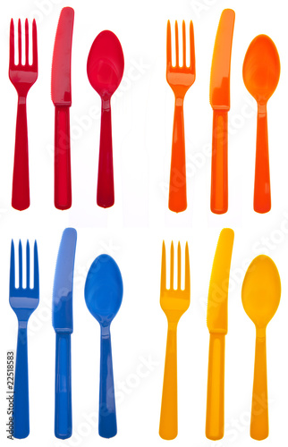 Deurstickers Picknick Sets of Vibrant Plastic Silverware