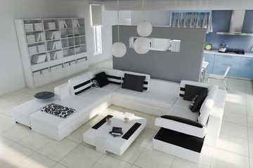 3d render modern living room