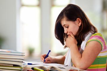 teennager girl doing homework 03