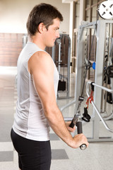 Young man working on triceps