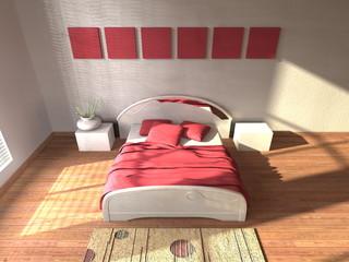 Camera da letto con quadri