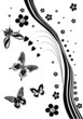 four abstract butterflies and black flowers