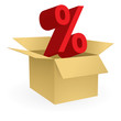 Vector big red percentage sign rises from a box