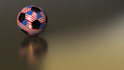Glossy USA soccer ball on golden metal surface