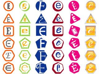 Letter E Icons Badges and Tags