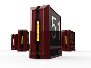 4 red regular computer servers