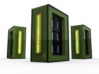 Three green working computer servers